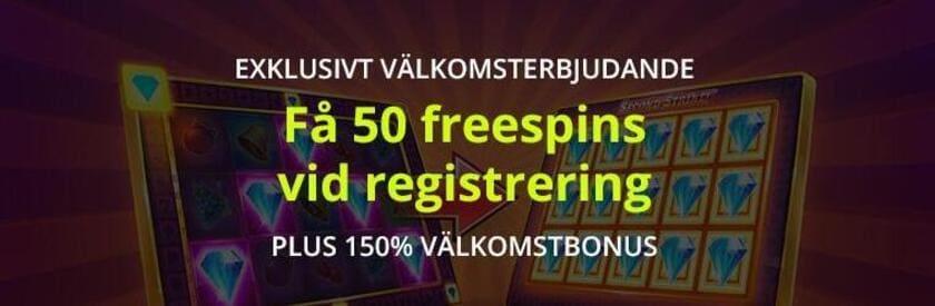 50 free spins vid registrering